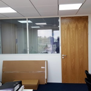 Graphite Partition Half Glazed with internal blinds